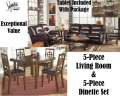 Get A 5PC Mahogany Blended Leather Combo Pkg & 5PC Dinette Set On Affordable Budgeted Payment Plans