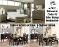 Furnish The Bedroom & Dining Room W/1-Affordable Payment W/A Rustic 6PC Bedroom & Farmhouse Dinette