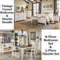 Vintage Bedroom/Dining Mutli-Room Package Featuring 8PC Two-Tone White Wash Bedroom & 5PC Dinette