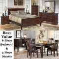 Best Value; Bundle Up & Save With Our Queen 8-Piece Cherry Bedroom Set & 5-Piece Dark Brown Dinette