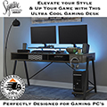 Elevate Your Game with This Ultra Cool Gaming Desk Featuring Desk Top Monitor Shelf & LED Back Light