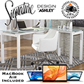 Create Your New Home Office Environment w/This Modern Desk, Chair & Apple MacBook Air Bundle