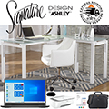 FREE HP Printer w/This Total Home Office Bundle; Complete w/Modern Desk, Chair, Dell Laptop & More