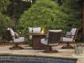 "Square 48"" Firepit Table w/Matching Swivel Lounge Chairs; Rust Free Aluminum Frames & Free Pillows"