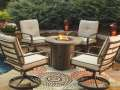 "Rust Free Aluminum 5-PC Round Fire Pit Set with 32"" Round Slate Table Top & 4 Swivel Lounge Chairs"