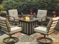 "Porcelain Drop in Tile Top 40"" Square Fire Pit Table Complete with 4-Matching Spring Lounge Chairs"