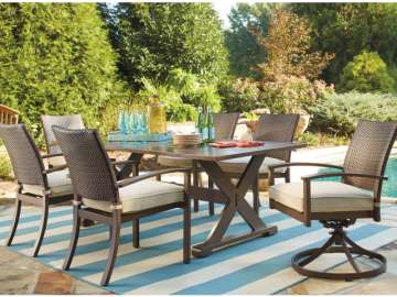 Free Matching Bench with Cushion; 7-PC Outdoor Dining Pkg in Rust Free Aluminum & Resin Wicker