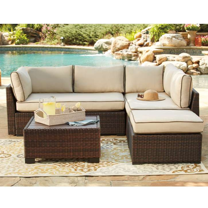 4pc Outdoor Sectional All Weather Reversible Nuvella Cushions W