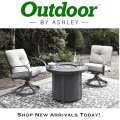 Super Value with this Donalee Bay Firepit Table & 2 Round Swivel Chairs - Express Shipping