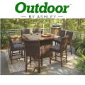 Paradise Trail Medium Brown Outdoor Square Bar Table with Fire Pit & 6 Stools