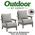 Embrace the Stylish Trend of the Wood Look in Dawn Gray with This 2-Piece Outdoor Lounge Chair Set