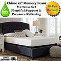 "Chime 12"" Memory Foam Twin Mattress Plus Riser Foundation; Wake Up Refreshed"