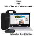 "Asus 2-In-1 13.3"" Intel Core i5 8GB Touch Screen Laptop Bundle With Wireless Mouse & Carrying Sleeve"