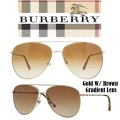 Burberry Large Aviator Metal Frame Sunglasses- Available In Gold