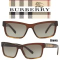 Burberry Mens' Striped Rectangle Acetate Frame Sunglasses- Available In Brown