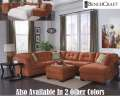Add Some Spice To Your Living Area W/This Soft Textured Oversized Rust Color 3PC Sectional W/Ottoman