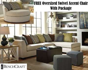 FREE Oversized Swivel AccentChair W/4PC Pkg W/Colorful Accent Pillows, Stg Ottoman & Lg Hanging Lamp