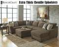 Ex Thick Chenille Upholstery With 3PC Sectional + Oversized Ottoman W/Plush Cushions & Ample Seating