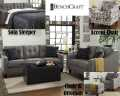 Transform Any Home W/The Sophisticated Design And Comfort with this 3PC Upholstery Set In Charcoal