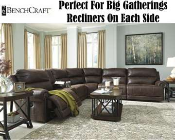 6PC Oversized Sectional; The Perfect Solution For Big Gatherings Featuring Recliners On Each Side