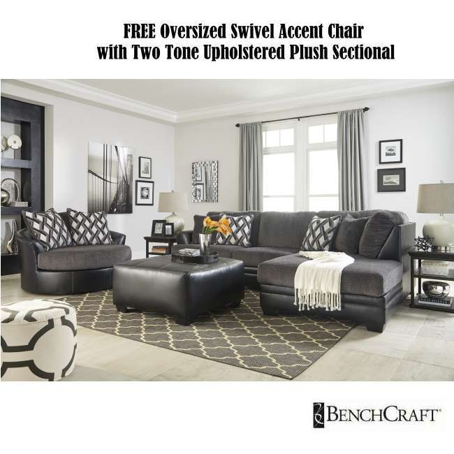 Free Oversized Swivel Accent Chair W Two Tone Upholstered Plush