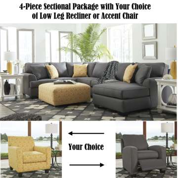 FREE Low Leg Recliner or Accent Chair;  4PC Package; Stain Resistant Nuvella Upholstery in Gray