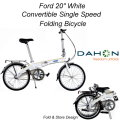 Ford by Dahon White Convertible Single Speed Folding Bicycle