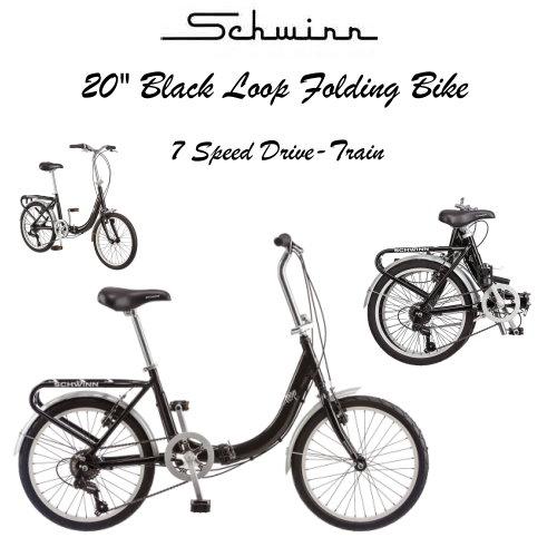 Schwinn 20-Inch Loop Folding Bike Featuring 7 Speed Drivetrain ...