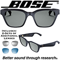Bose Unisex Alto Wayfarer Audio Sunglasses + 2-Additional Pairs of Colored Lenses