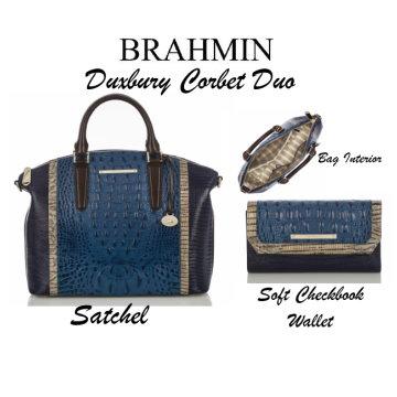Brahmin Duxbury Corbet Duo With Satchel & Matching Checkbook Wallet