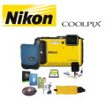 Nikon COOLPIX  Waterproof Shockproof Digital Camera Bundle with 16GB SDHC Card, Camera Case & More