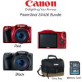 Canon PowerShot SX420 Digital Camera Bundle w/32GB SD Card & Camera Bag - Red or Black