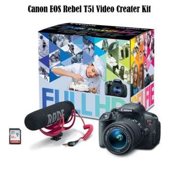 Canon EOS Rebel T5i Video Creator Kit-w/EF-S 18-55mm IS STM Lens, Rode VIDEOMIC GO Mic, 32GB MemCard