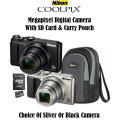 Nikon Coolpix 20.0 Megapixel Digital Camera With Carry Pouch & 32GB Memory Card-Available In 2 Color