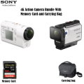 Sony White 4K Action Camera Bundle With Compact Carrying Case & 64GB Memory Card