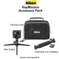 New Nikon KeyMission Accessory Pack With Case, Mini Tripod, Extension Arm & Extra Battery