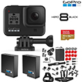 GoPro HERO8 Black with Froggi Extreme Sports Set, 2 Extra Batteries, 32GB Card