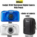 Nikon Coolpix W100 Waterproof Digital Camera With Camera Pouch-Choice Of Camera Color