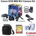 Canon EOS M50 M II Mirrorless Camera w/15-45mm Lens Creator Kit w/Accessory Kit