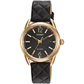 Citizen Eco-Drive LTR 34mm Quilted Black/ Rose Gold-Tone Womens Watch