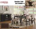 Make A Statement W/This 8PC Dining Pkg W/Floating Tops, Vibrant Pattern Chairs & Cappuccino Finish
