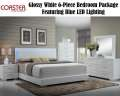 Glossy 6PC Modern Design Bedroom Pkg Featuring Blue LED Lighting In Headboard & FeltLine Top Drawers