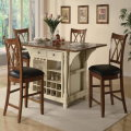 Buttermilk Country Cottage Kitchen Island with 2 Drop Down Leaves, Storage, Wine Rack & 4 Chairs