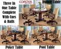Three-In-One Tobacco Finish Game Table-Dining, Poker Or Bumper Pool; Complete W/Pool Cues & Balls