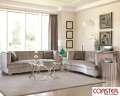 Modern Design Comes To Life W/This 4PC Pkg W/Kidney Shape Velvet Silver Upholstery W/Chrome Legs