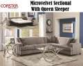 Art Deco Modern Design Family Rm Pkg Featuring Gray Microvelvet Sectional W/Qn Sleeper & 2-Tables