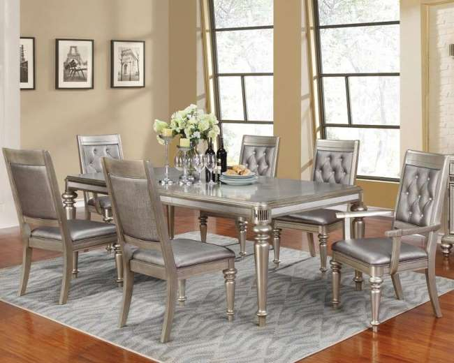 Platinum Metallic 7pc Dining Set Featuring A Glamorous Design W Hand Painted Glaze 1 20 Leaf Luther Liance And Furniture