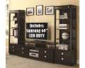 Bdl Up & Save W/This Cappuccino 3PC Wall Unit W/Plenty Of Storage + Samsung 58� Smart LED 4K UHD TV