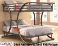 Fl Over Fl Metal Bunkbeds In Dk Gun Metal Finish Featuring 2-10.5�  Mattresses & 2-Built In Ladder