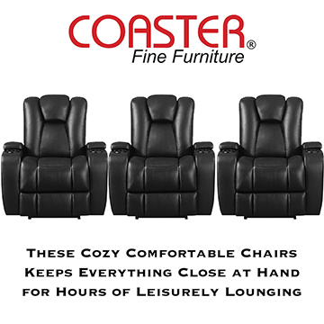 Stadium Seating 3PC Power Reclining Home Theater Pkg In Black W/Built-In Cupholders & Storage